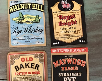 Whiskey Labels / 4 Vintage Whiskey Bottle Labels Walnut Hill, Old Baker, Maywood Royal Knight for Altered Art, Mixed Media, Tags, Journals++