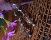 Rustic headpins with lilac crystals on oxidized wire. Art Jewelry Components by Feeriee13
