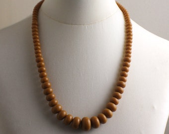 Long Length 1980s Light Tan Brown Graduated Beaded Necklace Kitsch