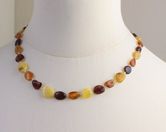 1960s Beaded Natural Mixed Color Amber Necklace Includes Butterscotch Egg Yolk Color Beads