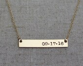Personalized Wedding Date Necklace - Gold Bar Necklace - Wedding Gift for Bride