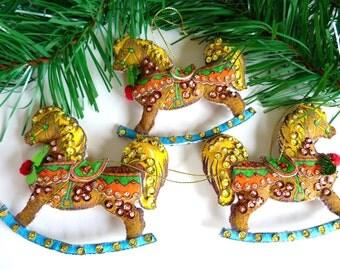 Christmas Ornament Rocking Horse Ornaments Vintage Stamped Felt Holiday Kit Finished Ornament Set Tree Ornaments