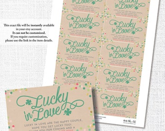 LUCKY IN LOVE Irish St Patrick's bridal wedding shower lotto thank you favor tag sticker instant digital download diy printable file