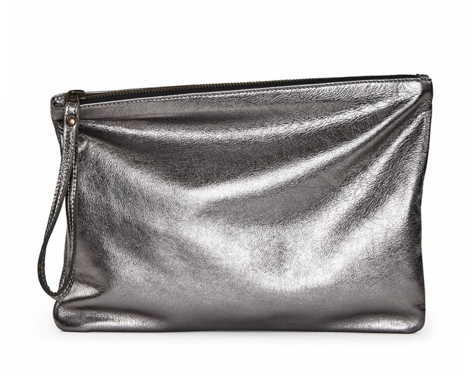 Antique silver leather clutch, silver evening bag, fold over clutch