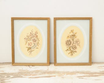 Pair Vintage Floral Prints Framed