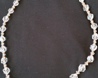 1930s Simmons Crystal Bead Necklace with Gold Filled Spacers on Gold Chain