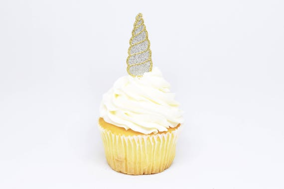 Unicorn Horn Cupcake Toppers - Silver + Gold Glitter - First Birthday Decor. Unicorn Party Decor. Birthday. Birthday Party Decor.