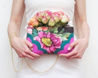 Flower shoulder bag. Natural leather purse. Statement purse. Clutch bag. Wedding bag. Bridesmaid clutch. Floral bag. Leather bag. /MIMI 5
