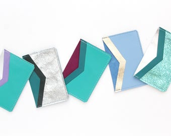 Natural leather credit card wallet. Business card case.Two pocket flat card holder. Metallic leather wallet. Pastel colors. Green mint teal