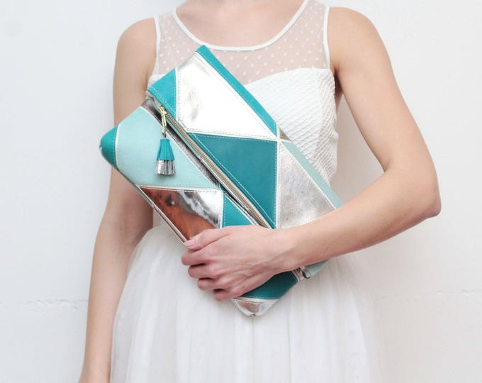 PRISM 24 /Large natural leather bag- leather purse-metallic leather bag-oversized clutch-geometric clutch-blue teal silver - Ready to Ship