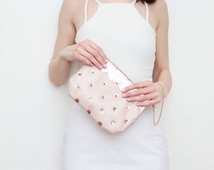 SWEET 3 / Small purse-clutch bag-leather purse-evening bag-scalloped leather-wrist strap bag-bride bag-sequin fabric-nude bag-Ready to Ship