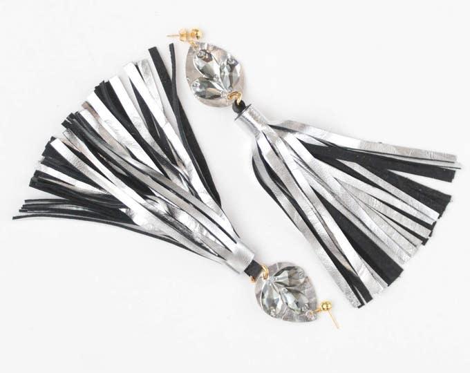 Oversized tassel earrings. Leather tassel earrings. Statement earrings. Tassel jewelry. Long tassels. Fringe earrings. Gemstones./MIRACLE 23