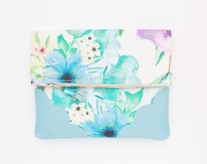 Flower clutch purse-leather bag-fold over purse-scalloped leather-handbag-floral print-tassel pull bag-blue green-Ready to Ship/ BLOOM 12