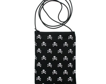 Skull and crossbones, black and white, small cross body, vegan leather, zipper top, passport bag