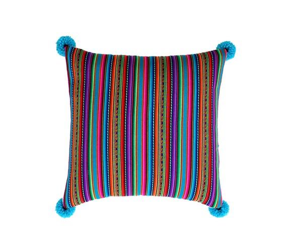 Pillow COVER,  Peruvian textile, multi stripes, blue, pom poms
