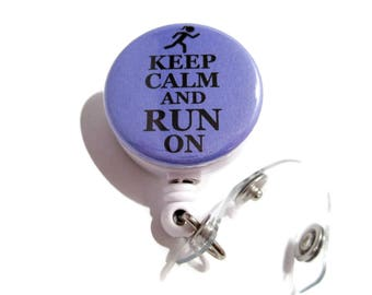 Keep Calm and Run On Badge Holder, Girl Runner Gift, Id Badge Reel, Id Badge Pull, Id Badge Holder, Retractable Id Lanyard, Violet 387
