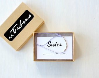Morse Code Jewelry Sister Bracelet Best Friend Gift Minimalist Silk Cord Bracelet Custom Morse Code Bracelet