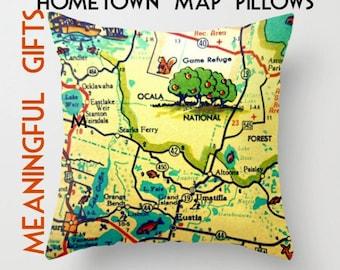 Throw Pillow, Ocala Map Pillow, Decorative Throw Pillow Cover, Florida Map, Florida Gift, Map Art, Map Gift, Hometown Gift, Kid's Room Throw