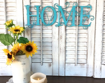 "Blue HOME Metal Sign, 16"" Long Wall Decor,  Shabby Cottage Chic Wall Words"