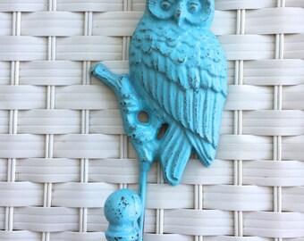 Whimsy Aqua Blue Owl Wall Hook, Casted Metal Owl Jewelry Hook, Metal Owl Wall Decor