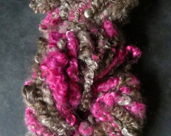 Handspun Yarn, Art Yarn, Bulky, Lockspun, Mohair,Teeswater, Coil Ply, 2 ply, Chunky, Textured, Milk Chocolate and Raspberry