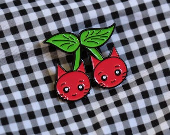 Cherry Cats Pin - Enamel Pin Badge - Rockabilly - Cat Pins - Cute Accessories - Kawaii / Cute - Cat Gifts - Pins / Buttons - Animal Pins