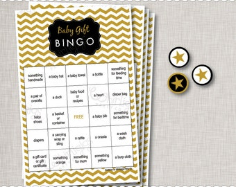 Chevron Baby Shower - Unisex Gold, White & Black Gift Bingo Game -  INSTANT DOWNLOAD