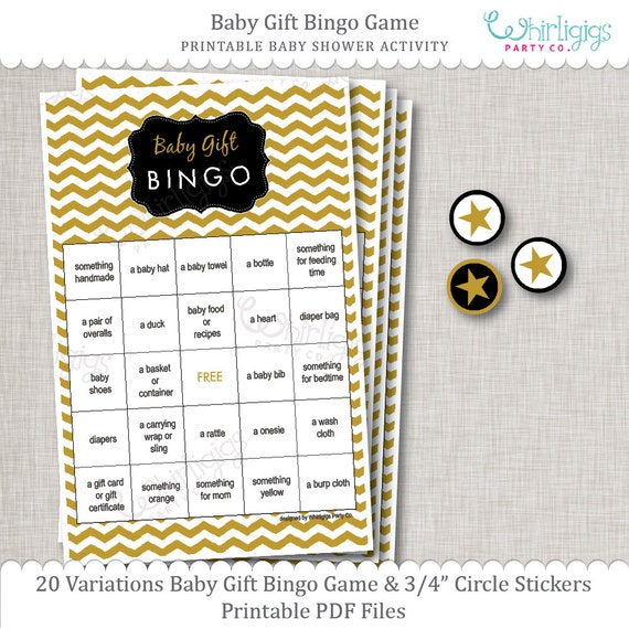 Baby Gift Gold : Chevron baby shower unisex gold white black gift bingo