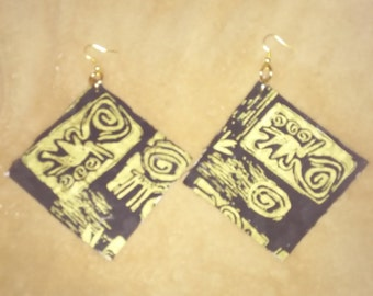 Extra large black and gold earrings