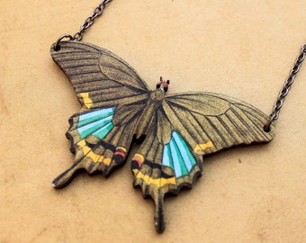 Large Brown and Blue Butterfly Necklace -   Blue Wooden Moth Woodcut Pendant Woodland Shabby