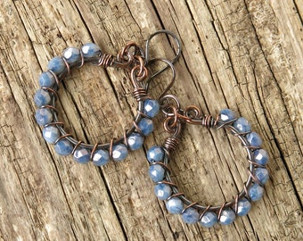 Beaded hoop earrings - periwinkle lavender purple blue faceted Picasso Czech glass beads copper wire wrapped