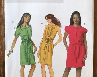 UNCUT Misses' Dress Sewing Pattern Butterick 5600 Easy Dress, Casual, Button Down Dress, Ruffle, Spring Dress Size 6-8-10-12-14-16-18-20-22