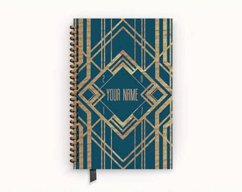 2017 Planner Prussian Blue and Gold Art Deco Personalized To Do List Spiral Bound Calendar Book