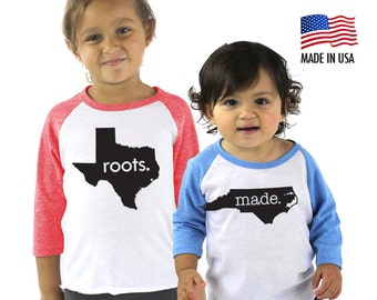 All States 'Roots' or 'Made' Tri-blend Raglan Baseball Shirt - Infant, Toddler, Kid, Youth sizes