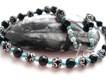 Onyx and Turquoise Filigree Gemstone Necklace - gift for her, silver plated jewellery, black and blue jewelry, unique jewellery, beaded