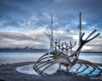 Sun Voyager Fine Art Photograph - Iceland Viking Ship Sculpture Print - Reykjavik Iceland Print, Dramatic Clouds