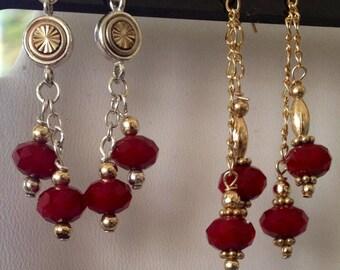 Red Jade Sterling silver Dangle Earrings
