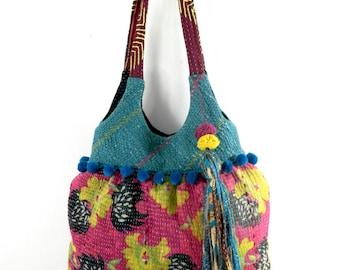 kantha bag, kantha quilt bag, indian bag, shoulder bag, recycled bag, ooak, kantha tote, kantha purse