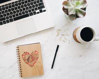 Geometric Heart Wood Journal