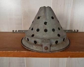Vintage Funnel Sieve Galvanized Steel Steampunk Industrial Salvage