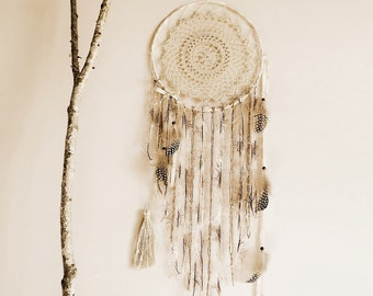 Wall hanging dreamcatcher, boho dream catcher, wall decor, bedroom, home decor, pastel, cream, handmade, large, neutral, wall hanging, boho