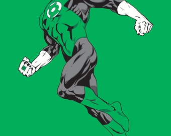 Green Lantern Art Print, DC Comics, Superhero, Justice League, Fan Art, 16x23 Poster Print