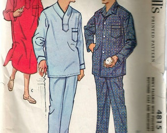 """Vintage 1958 McCall's 4815 Men's Pajamas with Pullover or Front Buttoned Coat & Nightshirt Sewing Pattern Size Medium Chest 38"""" - 40"""""""