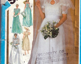 """1984 Simplicity 6405 Fitted Bridal Or Evening Gown In Two Lengths,  Jacket, Cummerbund & Train Sewing Pattern Size 12 Bust 36"""" UNCUT"""