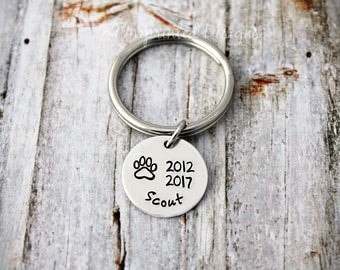 Pet Loss Key Chain - Sympathy Gift - Personalized Memorial Key Chain - Loss of a Dog - Dog Memorial - Keychain - Custom Name - Engraved