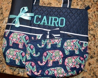 Monogramed 3 Piece Diaper Bag Set/Navy with Elephants/Free Personalization
