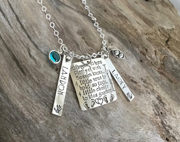 Gift For Twin Mom | Mother Of Twins | Personalized Mommy Necklace | Gift For Mom Of Twins | Twin Mom Push Present | Mothers Necklace Twins