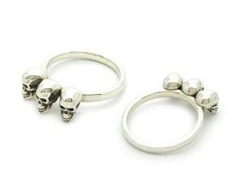 Silver Skull Ring - Skull Row Ring - Calvariam Triple Skull Ring - Sterling Silver
