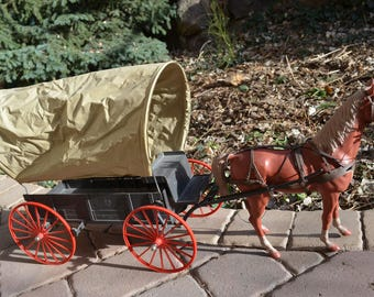 1960s Vintage Johnny West MARX Toy Covered WAGON w Buckboard and Seat, THUNDERBOLT the Brown Horse, Harness and Hitch, Rare & Near Complete