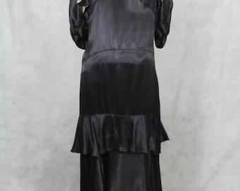 1920s Dress Downtown Abbey Ruffled Hem Shoulder Gatsby Roaring 20s Dress Black Satin